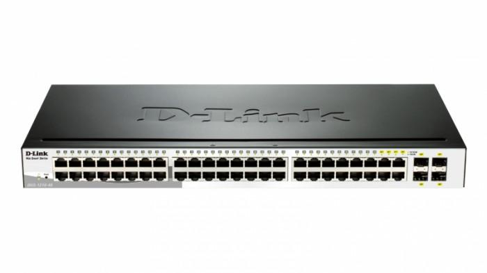 Switch Smart 24 port-uri Gigabit, incl. 4 sloturi SFP, 19inch 1U rack-mountable, D-LINK  0