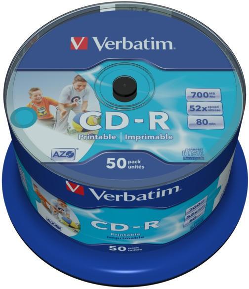 CD-R Verbatim AZO 52X 700MB 50PK SPINDLE WIDE INKJET PRINTABLE NO ID  0