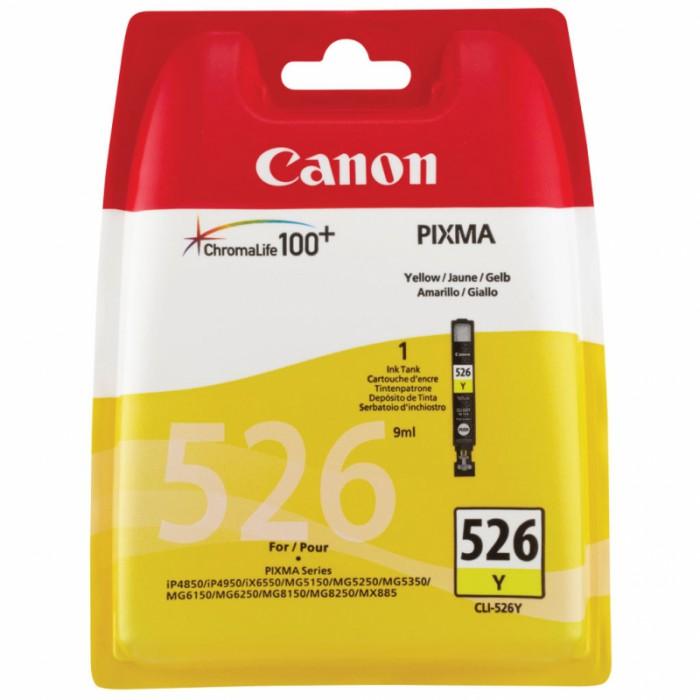 Cartus cerneala Original Canon CLI-526Y Yellow, compatibil Canon Pixma iP4850, MG5150/5250/6150/8150, 9 ml  [0]