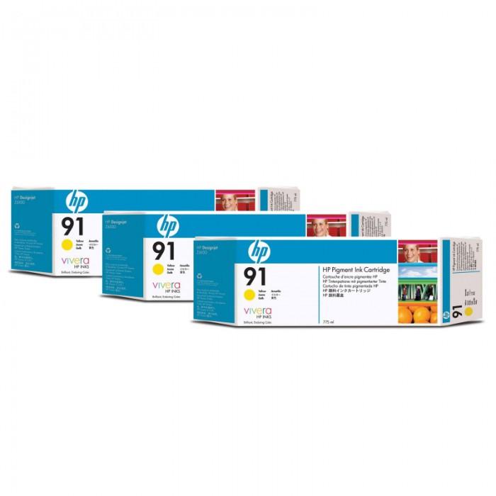 Cartus cerneala Original HP Yellow 91 3-pack, compatibil DesignJet Z6100, 775ml  [0]