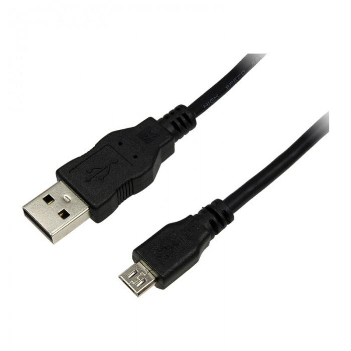 Cablu USB 2.0, A(T) - Micro B(T), black, 0.3m, Logilink  0