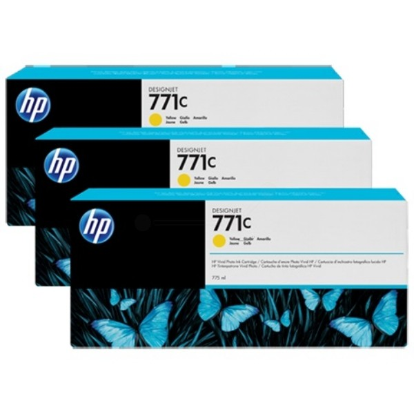 Cartus cerneala Original HP Yellow 771C 3-pack, compatibil DesignJet Z6200, 775ml  0