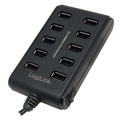 HUB USB extern, conectori iesire: 10x USB 2.0 si intrare: 1x USB 2.0, buton ON/OFF si alimentator priza inclus, Negru, LOGILINK  0