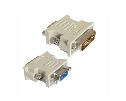Adaptor video DVI-A tata la S-VGA mama, fixare cu suruburi, carcasa solida din plastic, bulk, Alb, GEMBIRD  0