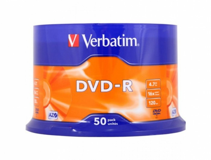 DVD-R Verbatim SL 16X 4.7GB 50PK SPINDLE MATT SILVER  0