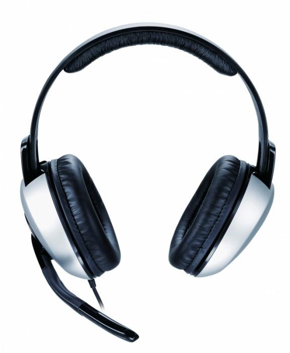 "Casti stereo cu microfon GENIUS HS-05A , clasice cu fir, frecventa 20Hz - 20kHz, cu jack de 3.5"", control volum pe fir, design ajustabil, microfon flexibil si cablu rasucit, culoare: negru-argintiu 0"