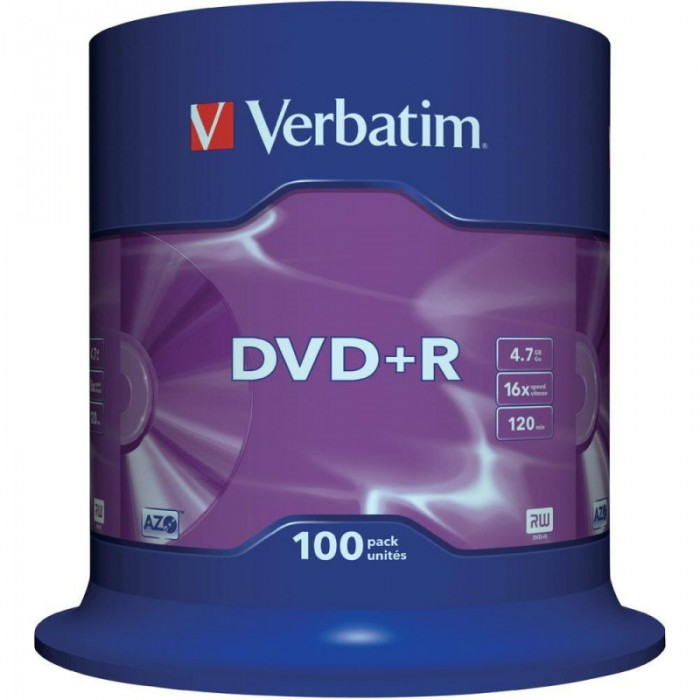 DVD+R Verbatim SL 16X 4.7GB 100PK SPINDLE MATT SILVER  0