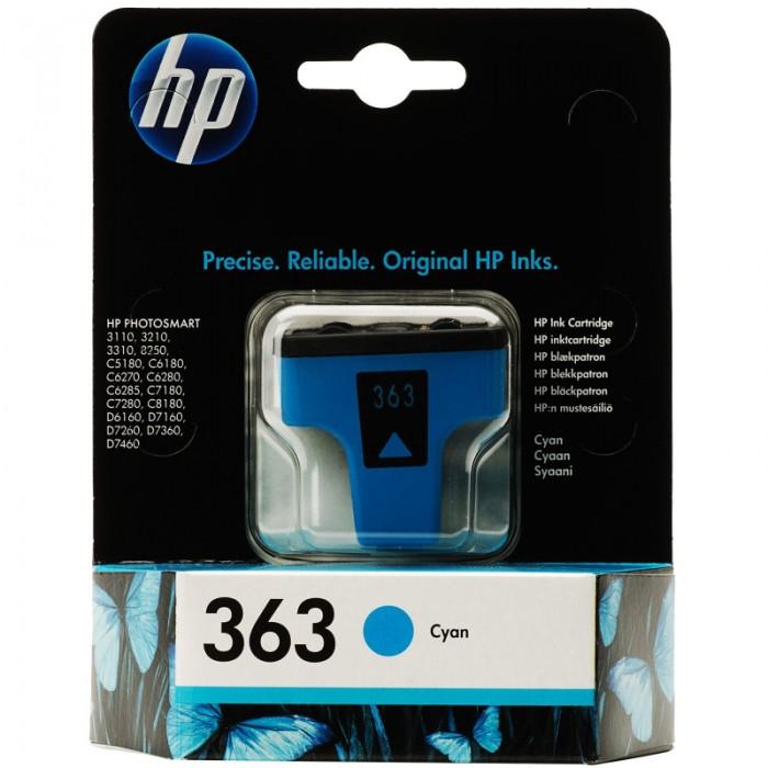 Cartus cerneala Original HP Cyan 363 w.Vivera ink, compatibil PhotoSmart 3110/3210/3310/C5180/C6180/C6250/C6280/C8180/D7160/72xx, 4ml, 350pag  [0]