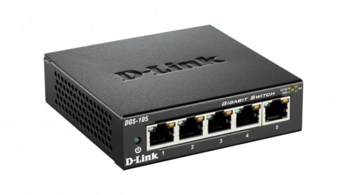 Switch unmanaged  5 port-uri Gigabit, carcasa metalica, D-LINK  0