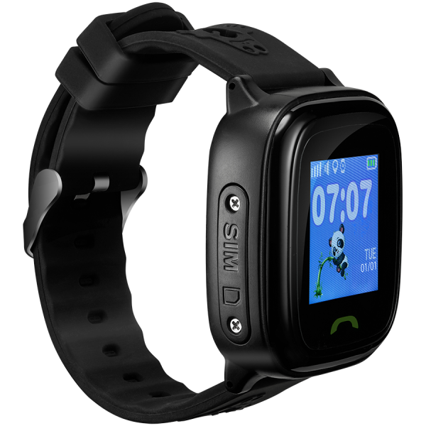 Kids smartwatch, 1.22 inch colorful screen,  SOS button, single SIM,32+32MB, GSM(850/900/1800/1900MHz), IP68 waterproof, Wifi, GPS, 420mAh, compatibility with iOS and android, Black, host: 46*40*15MM, 2