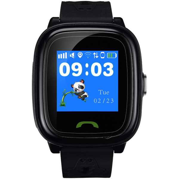 Kids smartwatch, 1.22 inch colorful screen,  SOS button, single SIM,32+32MB, GSM(850/900/1800/1900MHz), IP68 waterproof, Wifi, GPS, 420mAh, compatibility with iOS and android, Black, host: 46*40*15MM, 0
