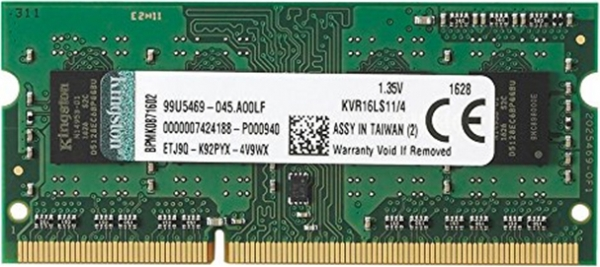 Kingston 4GB 1600MHz DDR3L Non-ECC CL11 SODIMM 1.35V, EAN: 740617219784 0
