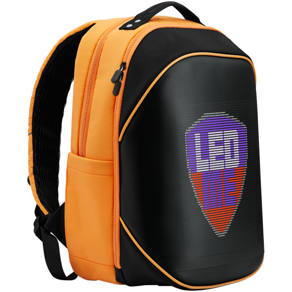 LEDme backpack, animated backpack with LED display, Nylon+TPU material, Dimensions 42*31.5*20cm, LED display 64*64 pixels, orange 3