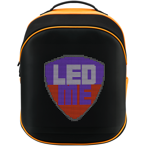 LEDme backpack, animated backpack with LED display, Nylon+TPU material, Dimensions 42*31.5*20cm, LED display 64*64 pixels, orange 0