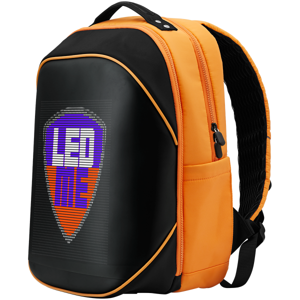 LEDme backpack, animated backpack with LED display, Nylon+TPU material, Dimensions 42*31.5*20cm, LED display 64*64 pixels, orange 2