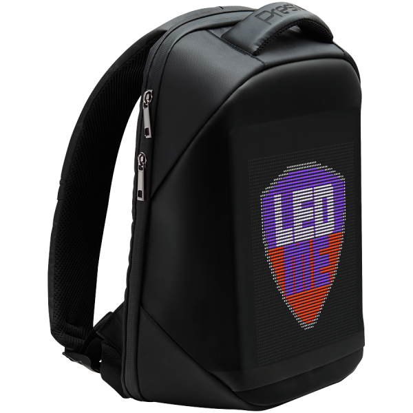 LEDme backpack, animated backpack with LED display, Polyester+TPU material, Dimensions 42*31.5*15cm, LED display 64*64 pixels, black 2
