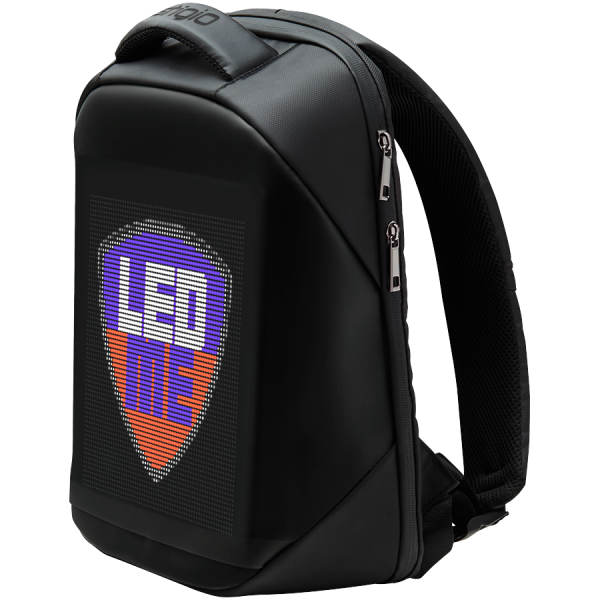 LEDme backpack, animated backpack with LED display, Polyester+TPU material, Dimensions 42*31.5*15cm, LED display 64*64 pixels, black 1