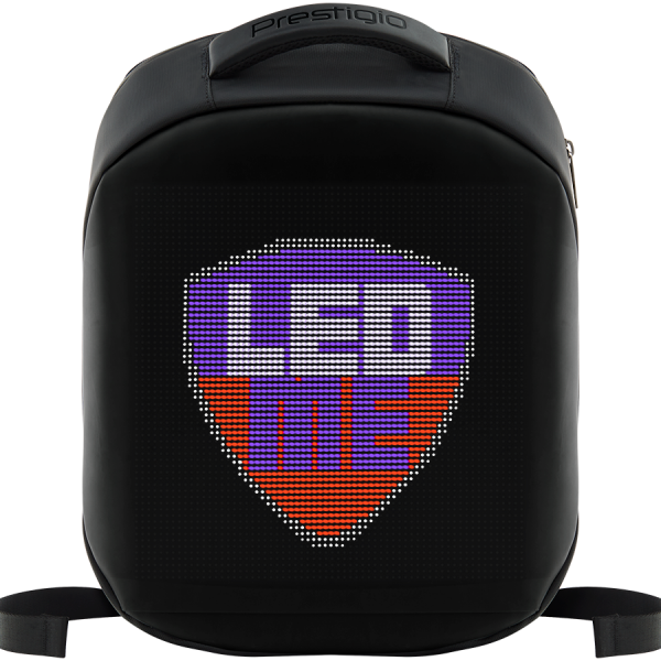 LEDme backpack, animated backpack with LED display, Polyester+TPU material, Dimensions 42*31.5*15cm, LED display 64*64 pixels, black 0