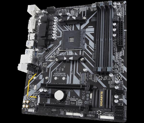 """MB  skt AM4  (AMD B450)  Gigabyte  """"B450M DS3H"""" 1"""