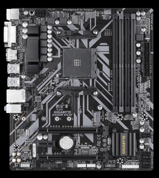 """MB  skt AM4  (AMD B450)  Gigabyte  """"B450M DS3H"""" 3"""