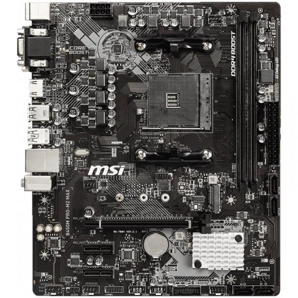 MSI Main Board Desktop B450 (SAM4, 2xDDR4, 1xPCI-Ex16, 2xPCI-Ex1, USB3.2, USB2.0, 4xSATA III, M.2, Raid, VGA, DVI-D, HDMI, GLAN) mATX Retail [1]
