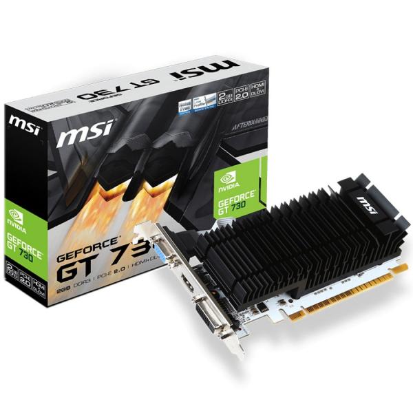 MSI Video Card NVidia GeForce GT 730 DDR3 2GB/64bit, 902MHz/1600MHz, PCI-E 2.0 x16, HDMI, DVI-D, VGA, Heatsink, Low-profile, Retail 0