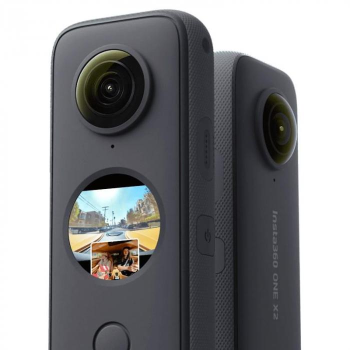 Camera video sport Insta360 ONE X2, 5.7K, 360°, Waterproof(pana la 10 metri), 4 microfoane, Mod Steadycam, InstaPano, Slow Motion, capacitate acumulator 1630 mAh, culoare neagra [1]
