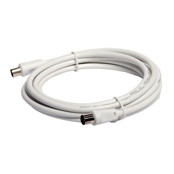 """PATCH CORD COAXIAL SPACER, RG59,  3m, male to female, Double shielded, 1x0.65+32x0.10mm2, CCS+al, alb, """"SP-PT-COAX-3M"""" 0"""