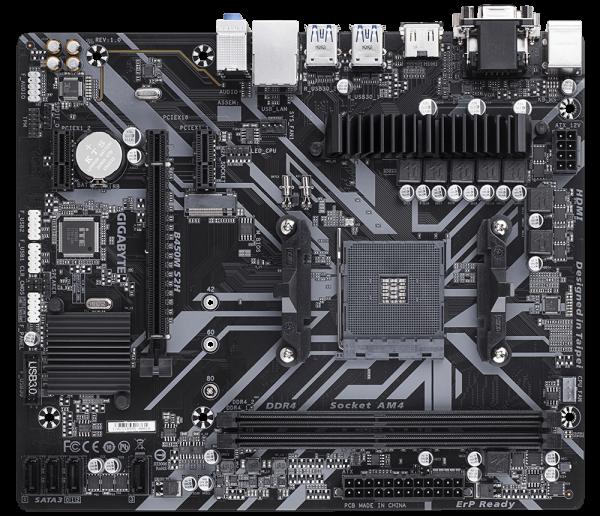 Placa de baza GIGABYTE skt. AM4, B450M S2H, AMD B450, 2x DDR4 3200 (O.C.) MHz, 1x DVI-D/ HDMI, 1x PCI E x16 slot at x16, 1x PCI E x16 at x4, 1x PCI E x1, 4x SATA, 2x USB 3.1, 8x USB 2.0/1.1, Realtek G 2