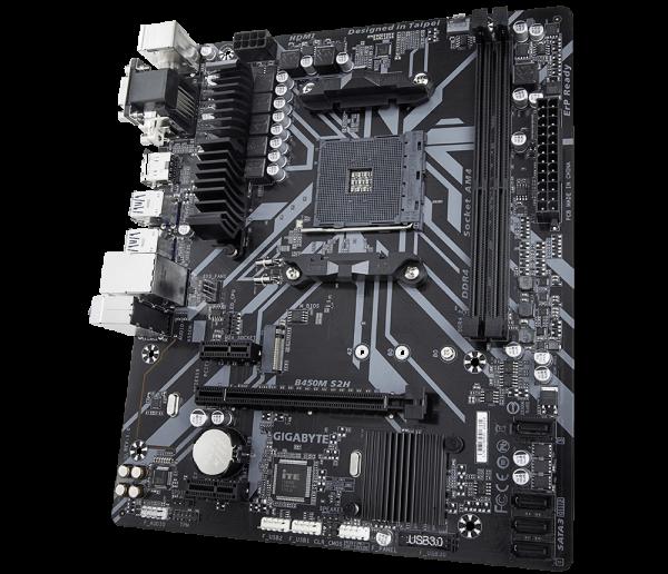 Placa de baza GIGABYTE skt. AM4, B450M S2H, AMD B450, 2x DDR4 3200 (O.C.) MHz, 1x DVI-D/ HDMI, 1x PCI E x16 slot at x16, 1x PCI E x16 at x4, 1x PCI E x1, 4x SATA, 2x USB 3.1, 8x USB 2.0/1.1, Realtek G 0