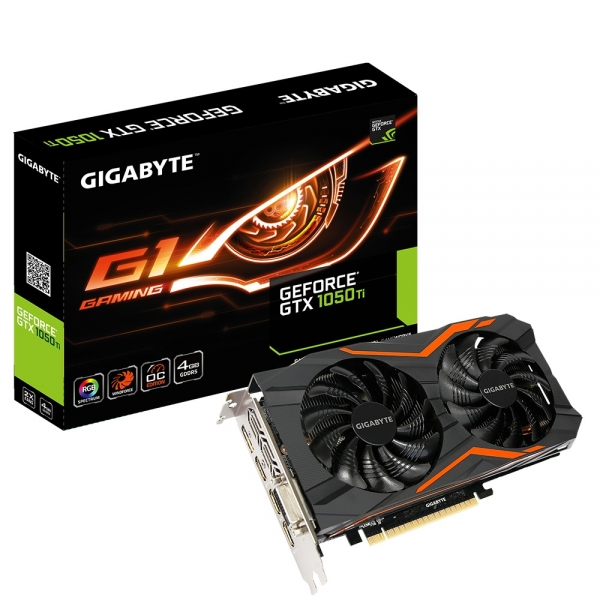 Placa video GIGABYTE NVIDIA GeForce GTX 1050 Ti G1 Gaming 4G, N105TG1 GAMING- 4GD, PCI-E 3.0 x 16, 4GB GDDR5, 128 bit, DVI-D *1, HDMI-2.0b*3, Display Port-1.4 *1, Boost: 1506 MHz/ Base: 1392 MHz in OC 2
