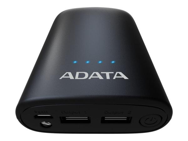 "POWER BANK ADATA 10050mAh, 2 x USB, 4 x LED pt. status baterie, P10050V 10.050 mAh, total 2.4A, lanterna LED, black ""AP10050V-DUSB-CBK"" 3"