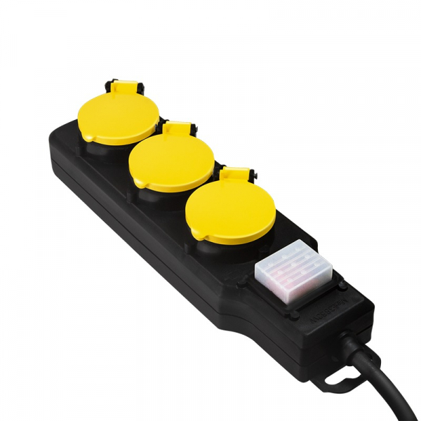 "PRELUNGITOR LOGILINK, Schuko x 3, conectare prin Schuko (T), cablu 1.5 m, 16 A, IP44 waterproof, capace protectie, dedicat pt. exterior, suport montare perete, negru, ""LPS253"" 2"