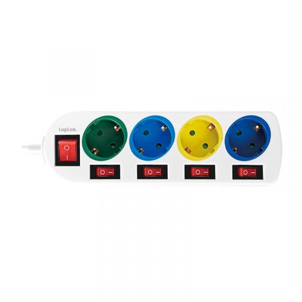 "PRELUNGITOR LOGILINK, Schuko x 4, conectare prin Schuko (T), cablu 1.5 m, 16 A, 5 x on/off cu iluminare, protectie copii, grosime 1.5mm2, alb cu Schuko multicolor, ""LPS257"" 1"