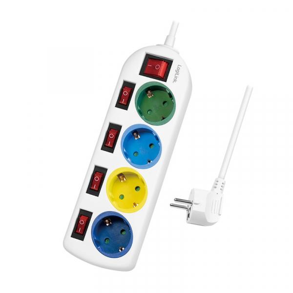 "PRELUNGITOR LOGILINK, Schuko x 4, conectare prin Schuko (T), cablu 1.5 m, 16 A, 5 x on/off cu iluminare, protectie copii, grosime 1.5mm2, alb cu Schuko multicolor, ""LPS257"" 0"