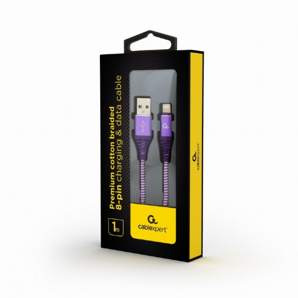 "Premium cotton braided 8-pin charging and data cable, 1 m, purple/white ""CC-USB2B-AMLM-1M-PW"" 1"