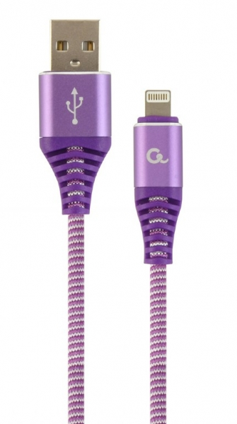 "Premium cotton braided 8-pin charging and data cable, 1 m, purple/white ""CC-USB2B-AMLM-1M-PW"" 0"