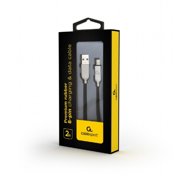 """Premium rubber 8-pin charging and data cable, 2 m, black """"CC-USB2R-AMLM-2M"""" 1"""