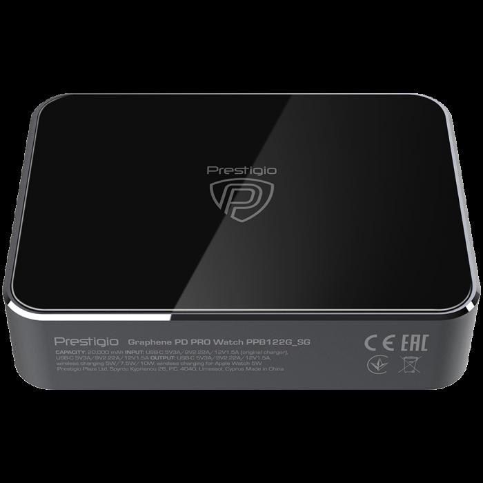 Prestigio Graphene PD PRO Watch Edition, fast charging powerbank, 20000 mAh, 2*USB3.0 QC, 1*Type-C PD, wireless charger 10W, Apple Watch wireless charger 2,5W, LED indicator, leather case, cable type  [3]