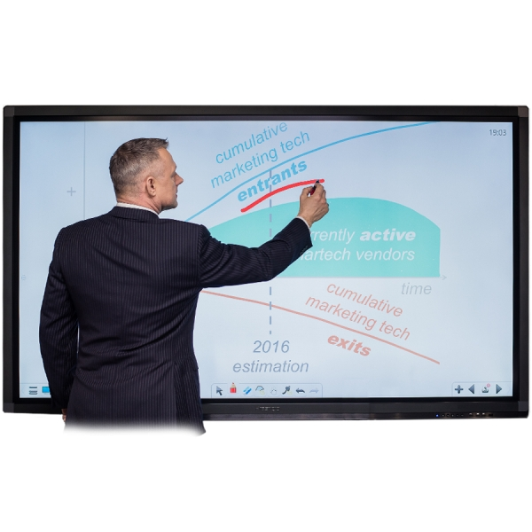 "Prestigio MultiBoard 75"" L Series: UHD: 3840x2160, windows PC: Core i7 CPU / 8GB RAM / 256GB SSD / independent graphic card, IR MultiTouch 20 TP, OS Windows 10 Pro 0"