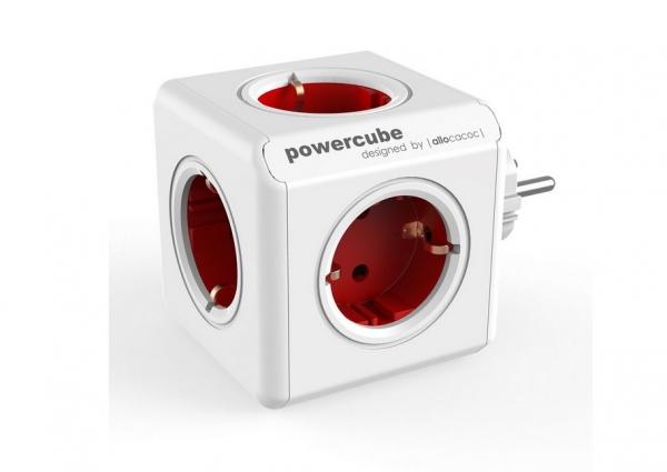 """PRIZA cubica POWER CUBE ALLOCACOC, 5 x prize Schuko, max. 16A, red, """"SPP1803"""" 0"""