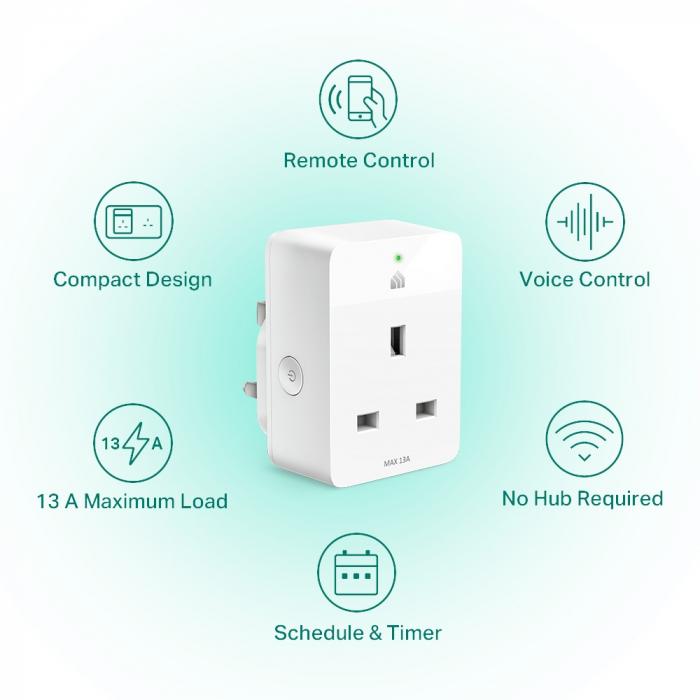 """PRIZA inteligenta TP-LINK, Slim, Schuko x 1, conectare prin Schuko (T), 16 A, programare prin smartphone, Wi-Fi, alb """"KP105P2"""" (include TV 0.15 lei) 1"""