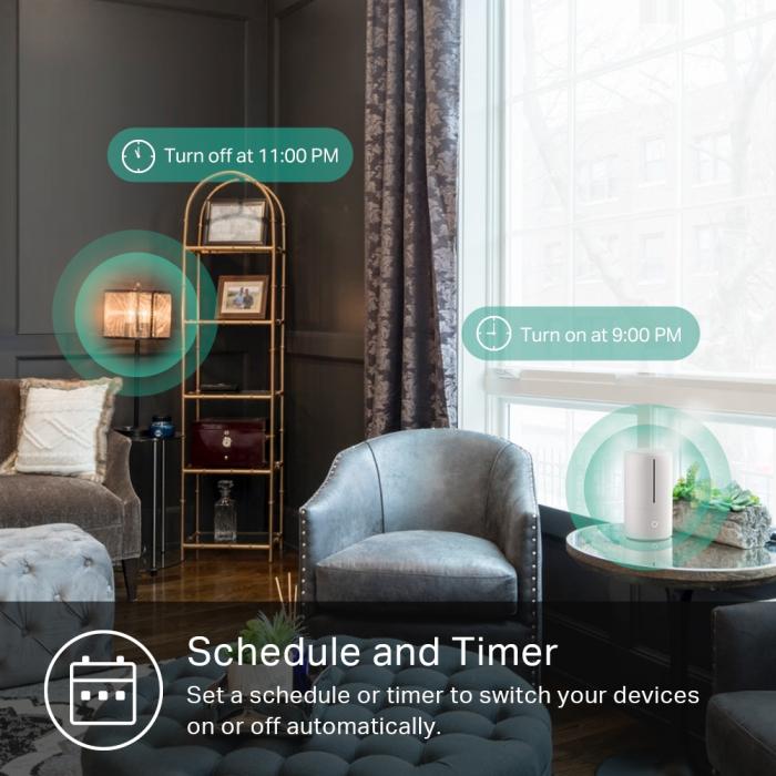 """PRIZA inteligenta TP-LINK, Slim, Schuko x 1, conectare prin Schuko (T), 16 A, programare prin smartphone, Wi-Fi, alb """"KP105P2"""" (include TV 0.15 lei) 5"""