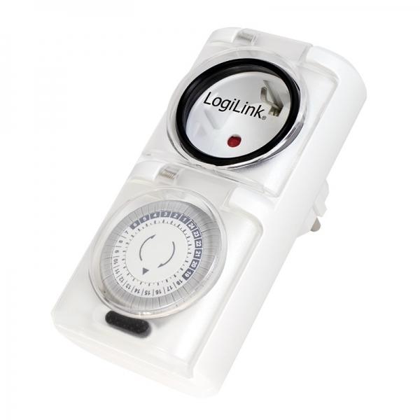 """PRIZA LOGILINK  1 x priza Schuko 16A, 3680W, programabila mecanic, minim 30min - maxim 24h, outdoor, capac protectie copil, 2buc la set, white, """"ET0006A"""" 0"""