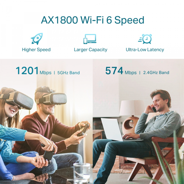 "RANGE EXTENDER TP-LINK wireless  1800Mbps, 1 port Gigabit,  2 antene externe, 2.4 / 5Ghz dual band, Wi-Fi 6, ""RE605X"" (include timbru verde 1.5 lei) 4"