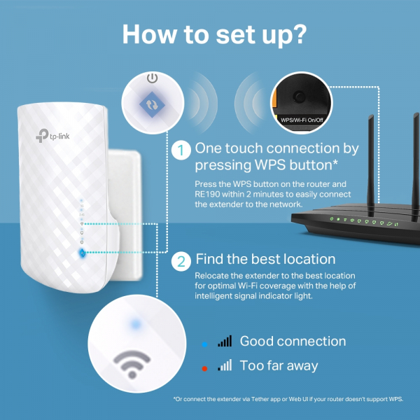 """RANGE EXTENDER TP-LINK wireless 750Mbps,3 antene interne, dual band AC750, 2.4GHz & 5GHz """"RE190"""" (include timbru verde 1.5 lei) 4"""