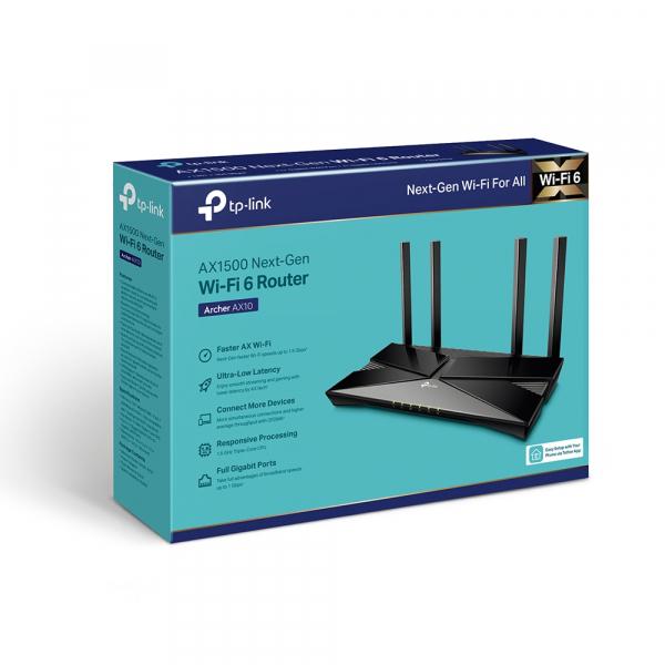 "ROUTER TP-LINK wireless 1500Mbps,1 x WAN Gigabit, 4 porturi LAN Gigabit, 2.4 GHz/5 GHz dual band, 4 antene externe, WI-FI 6,  ""Archer AX10"" (include timbru verde 1 leu) [5]"