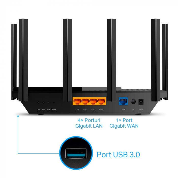 "ROUTER TP-LINK wireless 5400Mbps,1 x WAN Gigabit, 4 porturi Gigabit, 1 x USB 3.0, 2.4 Ghz/5 Ghz dual band, 6 antene externe, WI-FI 6 ""Archer AX73"" (include timbru verde 1.5 lei) 2"