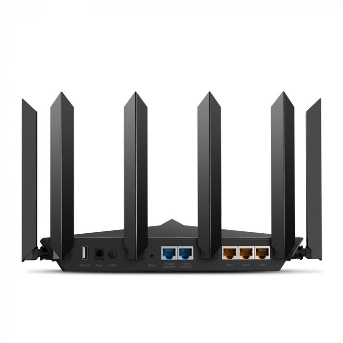 "ROUTER TP-LINK wireless 6600Mbps,1 x 2.5 Gbps WAN/LAN, 1 x 1 Gbps WAN/LAN, 3 x Gigabit LAN si 2 x USB, 2.4 Ghz/5 Ghz dual band, 8 antene externe, WI-FI 6 ""Archer AX90"" (include timbru verde 1.5 lei) [2]"