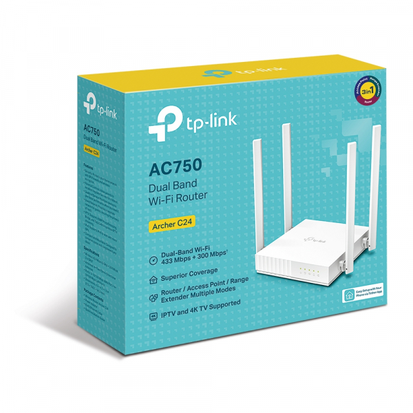 """ROUTER TP-LINK wireless  750Mbps, 4 porturi 10/100Mbps, 4 antene externe, Dual Band AC750 """"Archer C24"""" (include timbru verde 1.5 lei) [3]"""